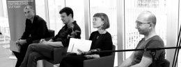Lesung Newcomer: Christian Reimann, Moritz Heger,Hannah Schraven, Simon Sailer (v.l.) © Michael Seehoff