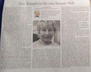 Fotografie des Zeitungsbeitrags über Margarete Hannsmann