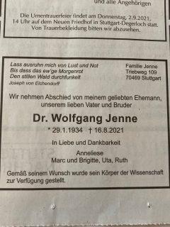 Todesanzeige Wolfgang Jenne